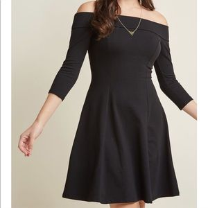 Modcloth Small S Black Mini Off Shoulder Dress